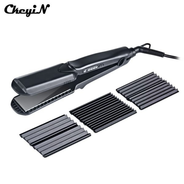 CkeyiN 4in1 Professional Ceramic Hair Flat Iron Wave Corrugation Hair Curler Straightener Curling Hair Crimper Corrugated Curl44 1