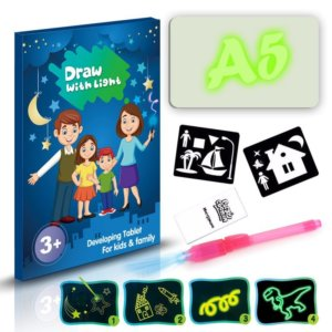2019 Draw With Light Glow In Dark Children Kids Paint Toy Luminous Drawing Board Sketchpad Set Gift Toys 1