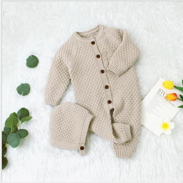 Baby Girl Romper Knitted Newborn Baby Clothes Romper With Hat Infant Toddler Jumpsuit For Kids Cotton Toddler Boys Jumpsuit 1