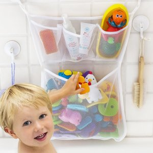 46*33 CM Bath Toy Folding Storage Baby Bathroom Washing Bathing Hanging Container Mesh Net Fun Toys Organizer 1